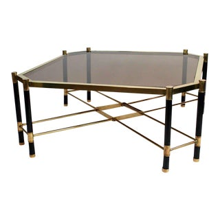 1970's French Brass and Painted Metal Cocktail Table For Sale