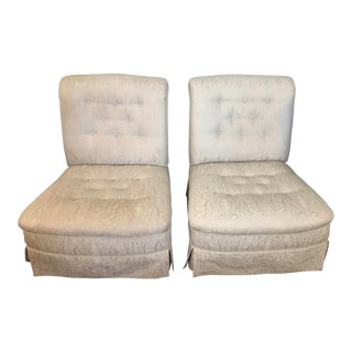 19th Century Scalamandre Silk Slipper Chairs - a Pair For Sale