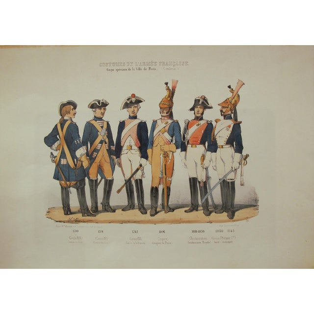 1850s Rare Vintage French Military Costumes Print - Image 1 of 4