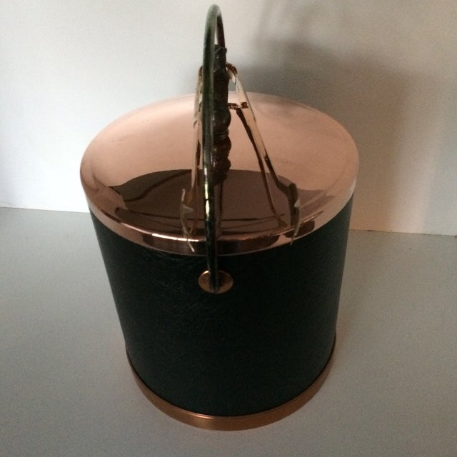Mid-Century Modern Vintage Mid-Century Lidded Copper Eagle Pull and Black Vinyl Ice Bucket & Brass Ice Tongs For Sale - Image 3 of 13