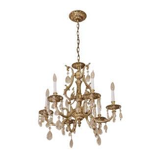Vintage Waldorf Astoria Ornate Gilded Brass & Crystal Six Arm Chandelier For Sale