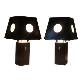 Bronze and Steel Spree Table Lamps - A Pair For Sale