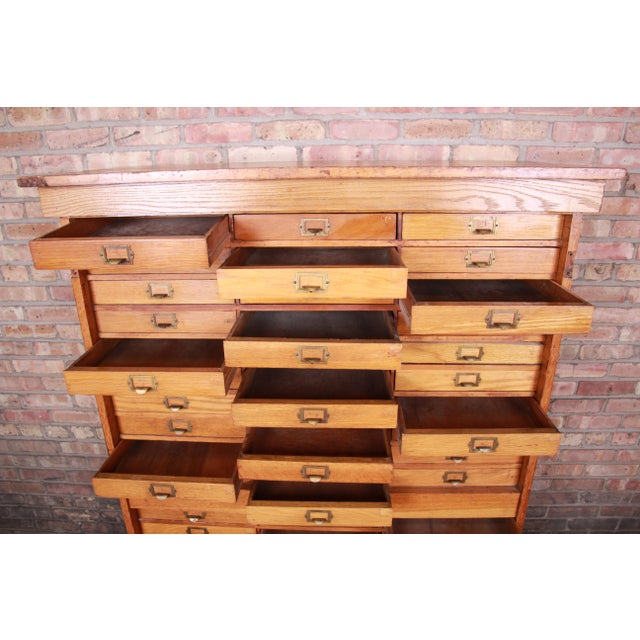 Brown Antique Oak 57-Drawer Cabinet, Circa 1920s For Sale - Image 8 of 13