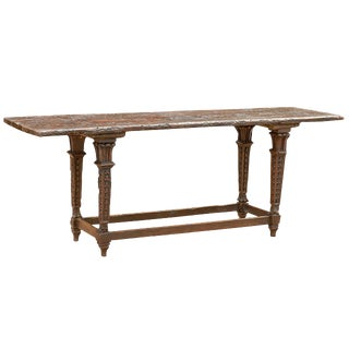 700s Italian Baroque Long Table with Rustic Top and Garland Adorned Legs