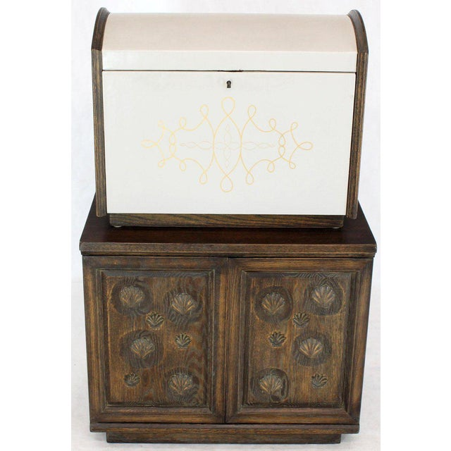 Cerused Carved Scallop Oak Leather Wrapped Campaign Portable Secretary Desk For Sale - Image 10 of 13