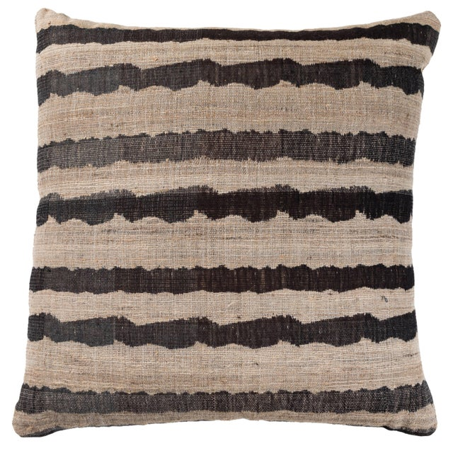 2010s Indian Handwoven Pillow Ocean Stripe Charcoal For Sale - Image 5 of 5