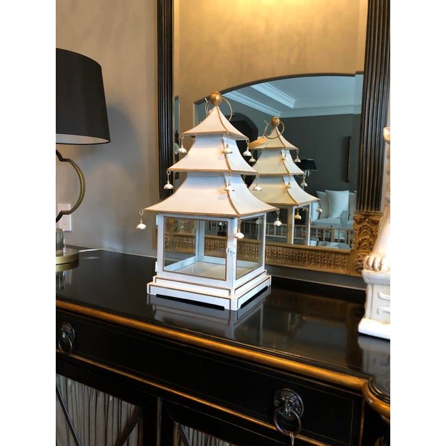 2010s Chinoiserie Metal Pagoda Style Lantern For Sale - Image 5 of 8