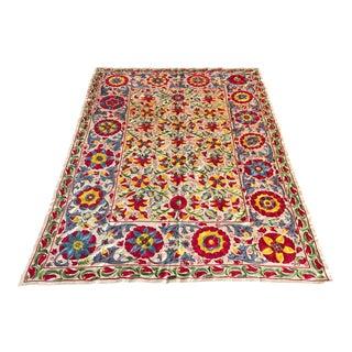 Floral Design Handmade Silk Suzani For Sale