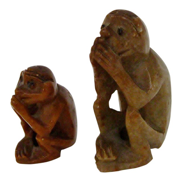 Carved Stone Monkeys - A Pair For Sale
