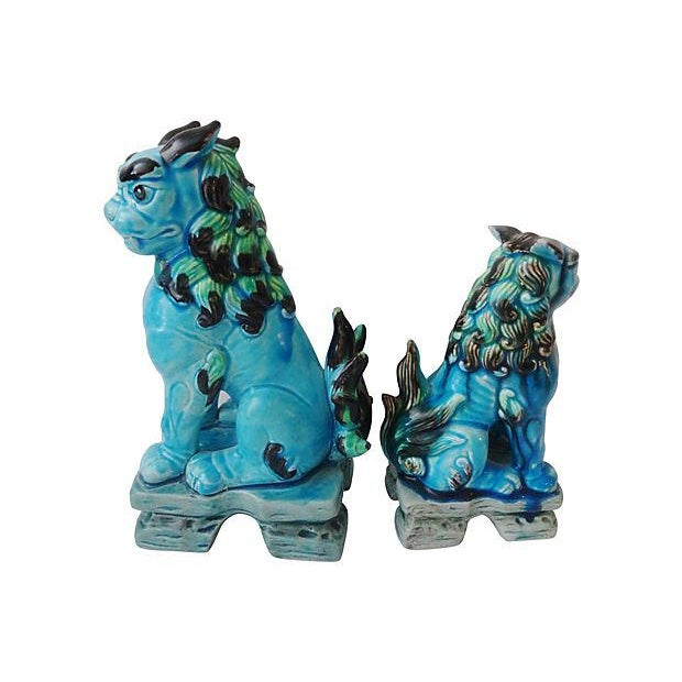 Asian Japanese Temple Foo Dogs - Set of 2 For Sale - Image 3 of 5