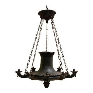 1820 Restauration Period Iron and Bronze Chandelier For Sale