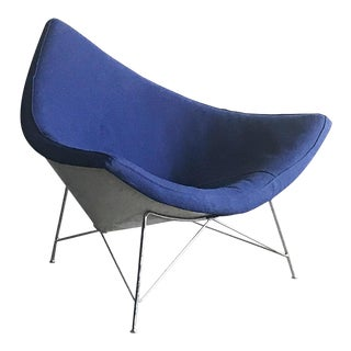 1st Edition George Nelson Herman Miller Blue Coconut Lounge Chair For Sale