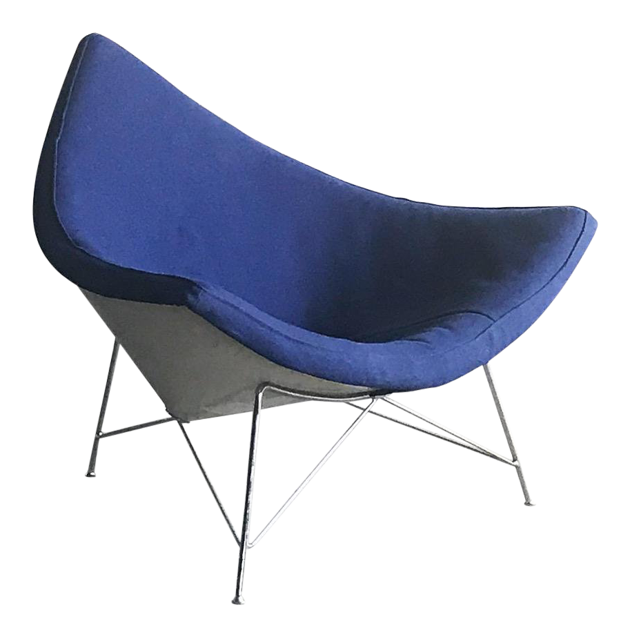 1st Edition George Nelson Herman Miller Blue Coconut Lounge Chair