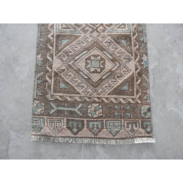 Low Pile Distressed Small Rug Hand Knotted Oushak Rug For Sale In Dallas - Image 6 of 8