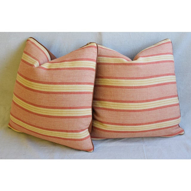 """Rogers & Goffigon & Leather Feather/Down Pillows 20"""" Square - Pair - Image 9 of 13"""