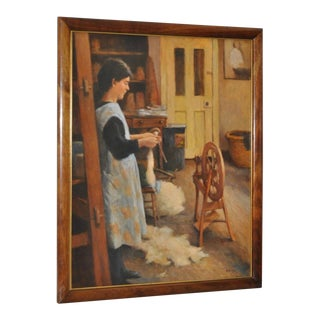 Olaf Palm (Finnish / American) Spinning Wool Oil Painting 20th C.