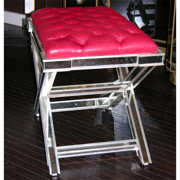 2000s Pair of Custom Silver X-Band Benches with Red Leather For Sale - Image 5 of 6