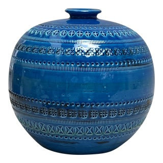 Rimini Blu Round Vase by Aldo Londi for Bitossi Italy For Sale