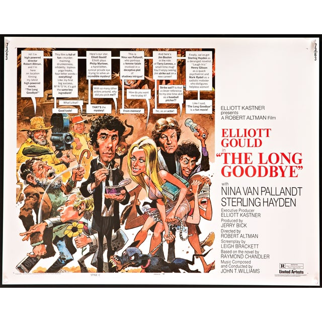 """Vintage original poster for the 1973 neo-Noir classic """"The Long Goodbye"""", directed by Robert Altman and starring Elliott..."""