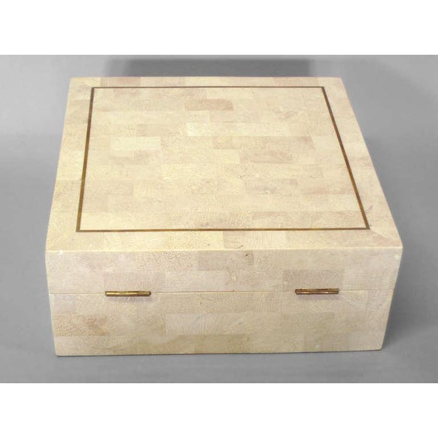 Mid-Century Modern Mahogany Lined Tesselated Box in the Style of Karl Springer For Sale - Image 3 of 5