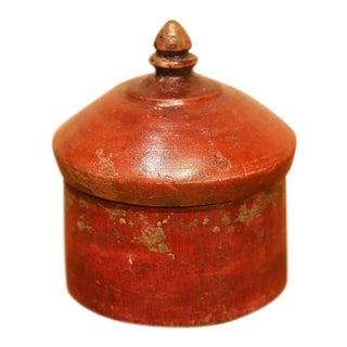 Vibrant Red Antique Tikka Box For Sale
