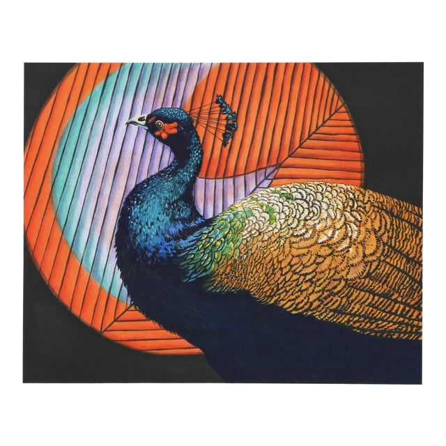 "Caroline Schultz, ""Peacock"", Photorealist Bird Lithograph For Sale"