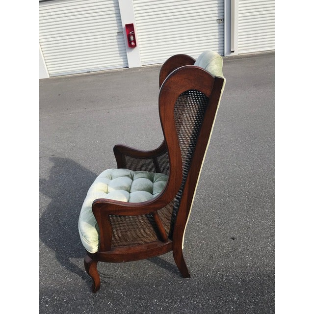 Traditional Tufted Velvet Cane Wingback Chair For Sale - Image 3 of 6