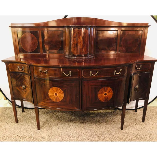 Metal Sheraton Flame Mahogany 19th Century Sideboard Buffet With Inlaid Backsplash Top For Sale - Image 7 of 13