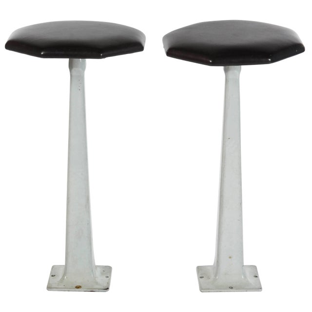 Pair of 1940s Industrial Floor Mount Stools With Black Leather Tops For Sale In Los Angeles - Image 6 of 6