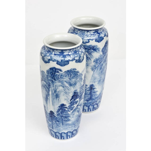 Ceramic Pair of Vases, Antique Blue and White Japanese, Signed For Sale - Image 7 of 10