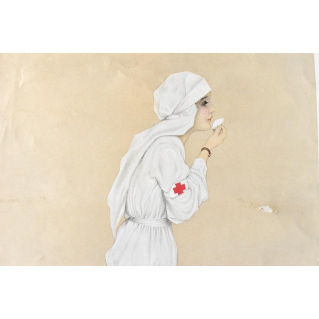 """Mid 20th Century Vintage Poster Print of """"Little Sister"""" Wwi Nurse 1915 by Raphael Kirchner For Sale - Image 5 of 7"""