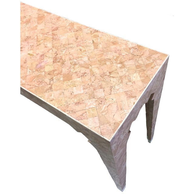 Maitland - Smith Maitland Smith Pink Tessellated Stone Console Table For Sale - Image 4 of 7