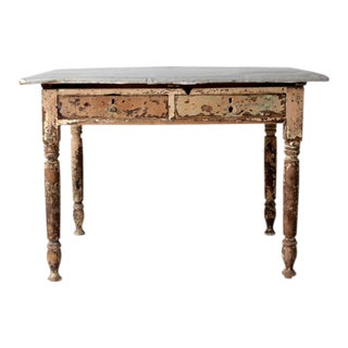 Antique Table With Galvanized Metal Top For Sale