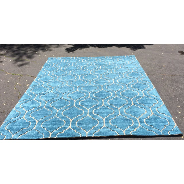 Hand Tufted Trellis Blue Rug - 8' X 10' - Image 2 of 6