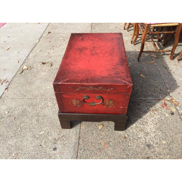 Antique Chinese Pig Skin Trunk On Stand For Sale - Image 4 of 7