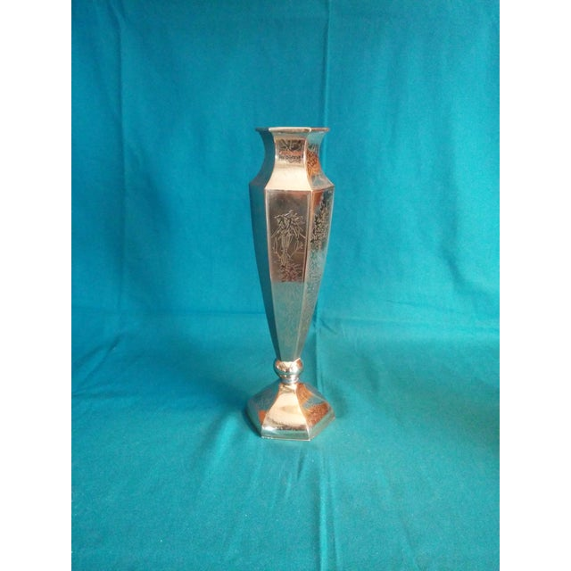 Asian Inscribed Tall Silver Pedestal Vase For Sale - Image 3 of 8