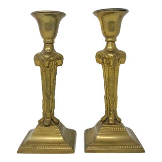 Hollywood Regency Gilt Brass Ram's Head Candle Holders For Sale