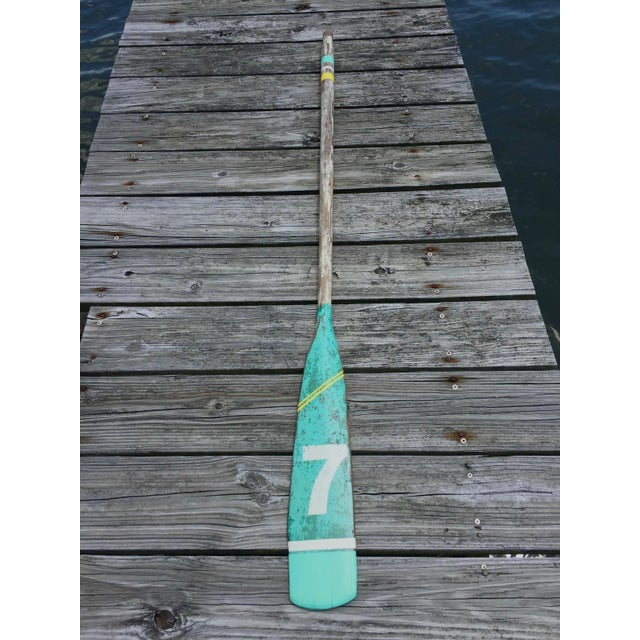 1960s Vintage Seafoam Green & White Yellow Stripe Lucky Number 7 Painted Oar For Sale - Image 5 of 5