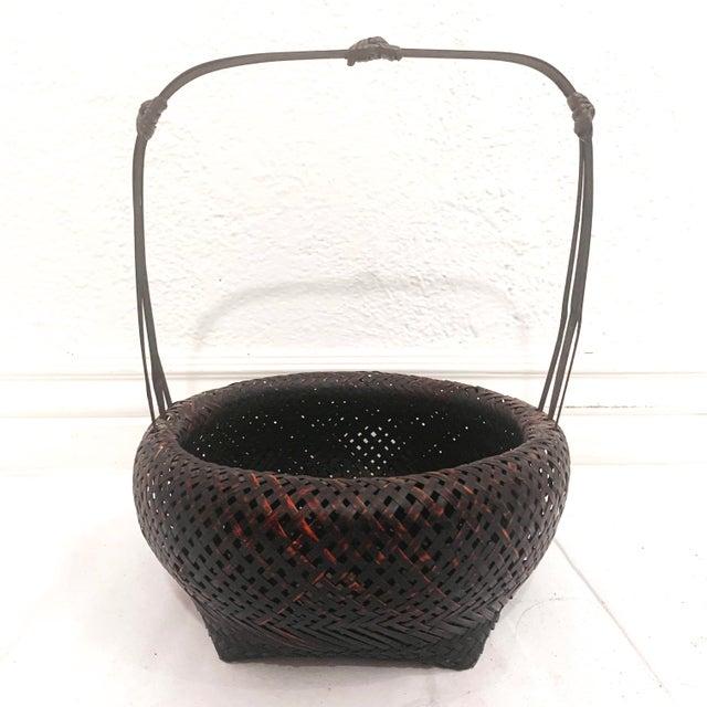 Antique Japanese Woven Ikebana Basket For Sale - Image 12 of 12