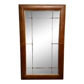 Hickory Chair Transitional Dauphine Leather Floor Mirror/Full Length Mirror For Sale
