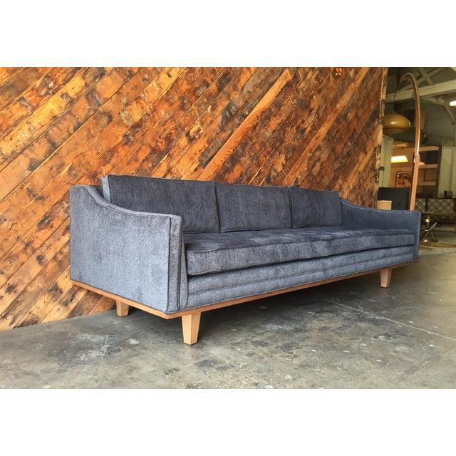 Mid Century Style Custom Walnut Trim Sofa For Sale - Image 4 of 8
