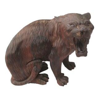 Antique Korean Rosewood Carved Tiger For Sale