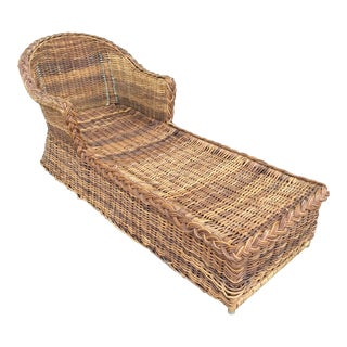 Vintage Coastal Large Wicker Braid Chaise For Sale