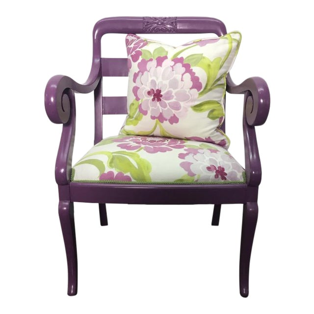 Accent Chair in Purple With Floral Upholstery & Pillow For Sale