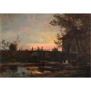 1910s Rural Evening View With Figures and Cattle Antique Oil Painting For Sale