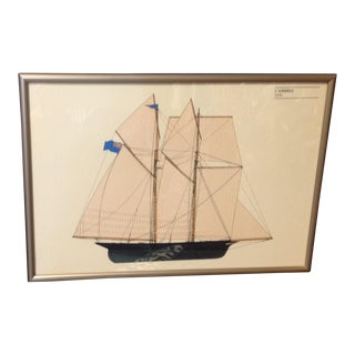 1970s Vintage Framed Chromolithograph of Cambria Sailboat Winner Americas Cup 1870 For Sale