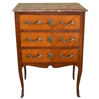 Louis XVI Style Inlay Wood Small Commode With Three Drawers For Sale