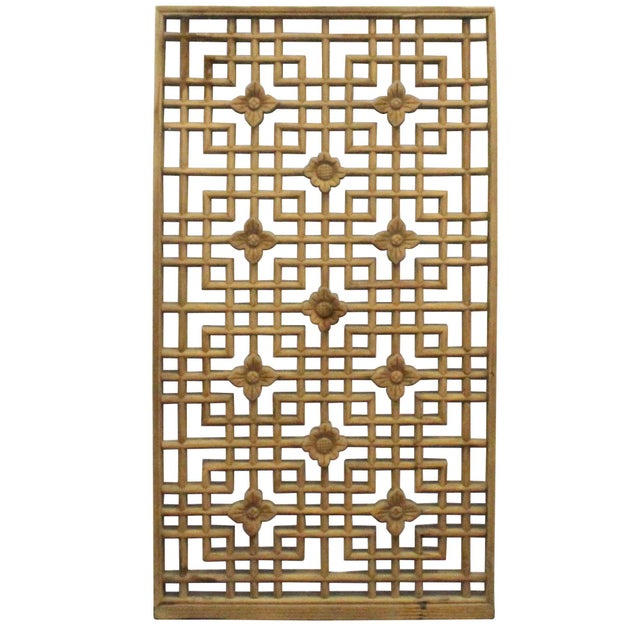 1980s Chinese Handmade Vintage Rustic Flower Star Geometric Wood Panel For Sale - Image 5 of 7