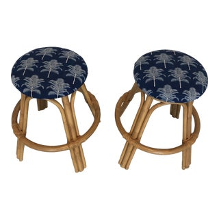 Vintage Rattan/Bamboo Leather Wrapped Stools - a Pair For Sale