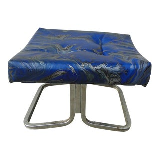Vintage Mid-Century Tie Dyed Marbleized Footstool For Sale